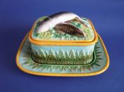 Rare George Jones Majolica Sardine Dish, Cover and Stand c1870